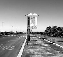 Ostia seafront: bus stop sign by Giuseppe Cocco