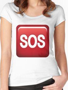 SOS emoji Women's Fitted Scoop T-Shirt