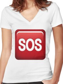 SOS emoji Women's Fitted V-Neck T-Shirt