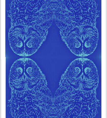 Blue Owl Mirror Sticker
