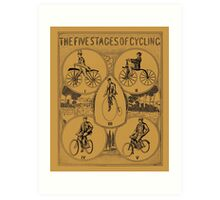 The five stages of cycling (bicycle history) Art Print