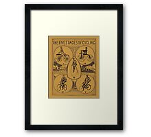 The five stages of cycling (bicycle history) Framed Print