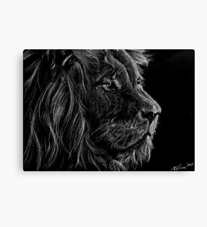 Lion White Pencil Drawing Canvas Print