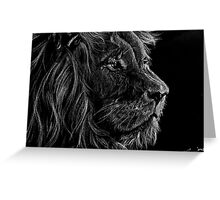 Lion White Pencil Drawing Greeting Card