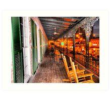 Historic Marshall House Hotel Upper Porch, Savannah Art Print