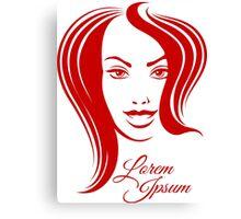 Beautiful Woman Face Emblem Canvas Print