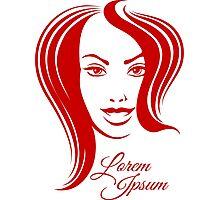 Beautiful Woman Face Emblem Photographic Print