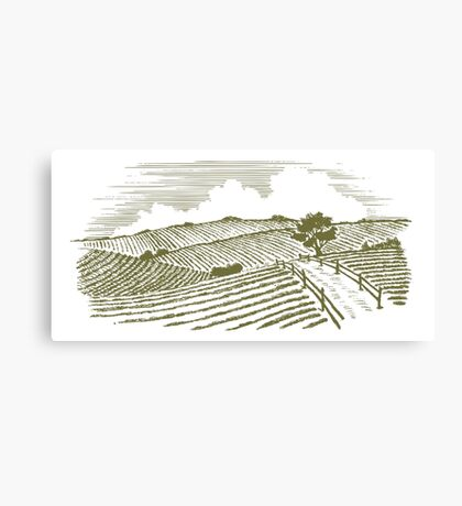 Woodcut Countryside Canvas Print
