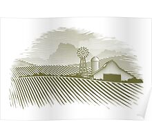 Woodcut Countryside Barn Poster