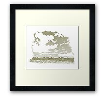 Woodcut Cloud Scene Framed Print