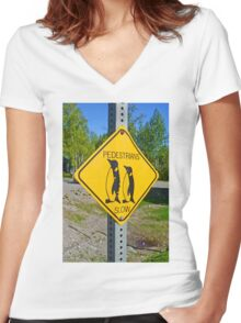 Slow Pedestrians Women's Fitted V-Neck T-Shirt