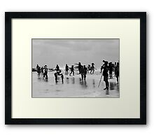 On The Beach Black and White Framed Print