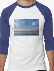 Blue Serenity - Silky Ripples and Brushstrokes Men's Baseball ¾ T-Shirt