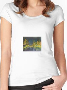 Southbank at Night Melbourne Vic Australia Women's Fitted Scoop T-Shirt