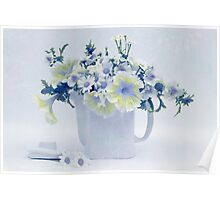 Teapot Of Yellow And Blue Petunias And Daisies  Poster