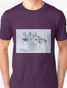 Teapot Of Yellow And Blue Petunias And Daisies  Unisex T-Shirt