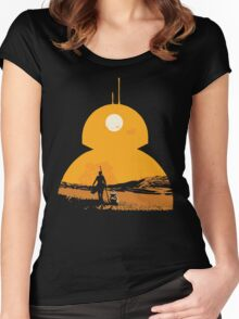 Star Wars The Force Awakens BB8 Poster Women's Fitted Scoop T-Shirt