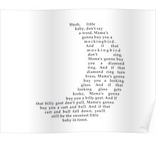 Hush Little Baby Moon Text Poster