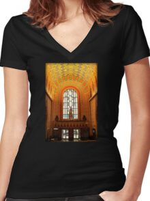 Lobby Of Guardian Building In Detroit At Christmas Women's Fitted V-Neck T-Shirt
