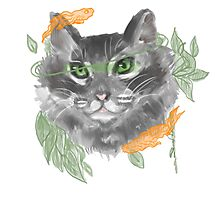 Gray Leaf Cat with Koi  Photographic Print