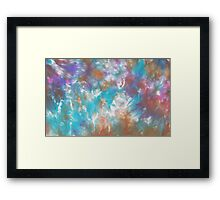 Silk painting - Abstract blues Framed Print