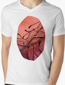 Doodled Autumn Feather 01 Mens V-Neck T-Shirt