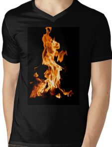 Orange flame Mens V-Neck T-Shirt