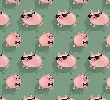 Pigs on green by solarlullaby