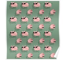 Pigs on green Poster