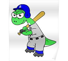 Illustration of a Brontosaurus baseball player. Poster