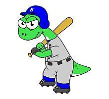 Illustration of a Brontosaurus baseball player. Photographic Print