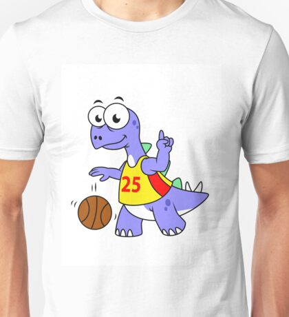 Illustration of a Stegosaurus playing basketball. Unisex T-Shirt