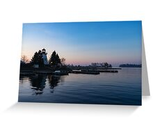Waiting for Sunrise - Blue Hour at the Lighthouse, Infused with Soft Pink Greeting Card