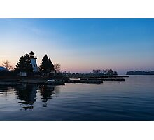 Waiting for Sunrise - Blue Hour at the Lighthouse, Infused with Soft Pink Photographic Print