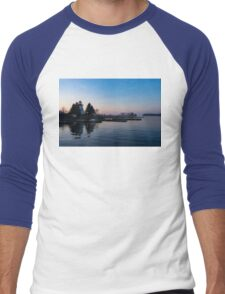 Waiting for Sunrise - Blue Hour at the Lighthouse, Infused with Soft Pink Men's Baseball ¾ T-Shirt