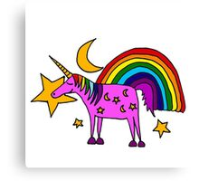 Funny Cool Unicorn and Rainbow and Stars Art Canvas Print