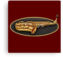 Saxophone Gold Oval Canvas Print