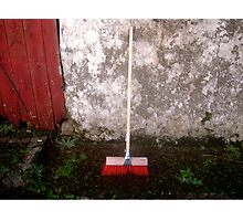 Red Sweeping Brush Photographic Print