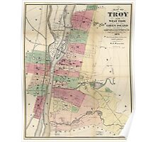 Map of Troy, West Troy & Green Island New York (1874) Poster