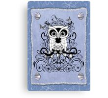 Fantasy Black an White Owl Canvas Print