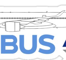 Airbus A350 Line Drawing Sticker