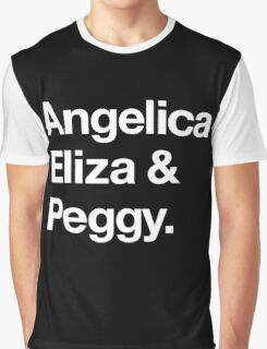Helvetica Angelica Eliza and Peggy (White on Black) Graphic T-Shirt
