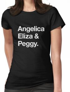 Helvetica Angelica Eliza and Peggy (White on Black) Womens Fitted T-Shirt