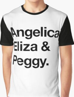 Helvetica Angelica Eliza and Peggy (Black on White) Graphic T-Shirt