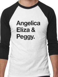 Helvetica Angelica Eliza and Peggy (Black on White) Men's Baseball ¾ T-Shirt