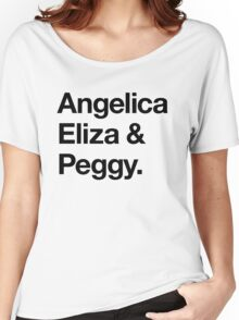 Helvetica Angelica Eliza and Peggy (Black on White) Women's Relaxed Fit T-Shirt