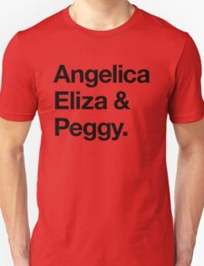 Helvetica Angelica Eliza and Peggy (Black on White) T-Shirt