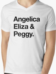 Helvetica Angelica Eliza and Peggy (Black on White) Mens V-Neck T-Shirt