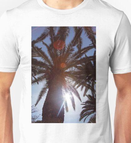 Sunbeams through the palms Unisex T-Shirt