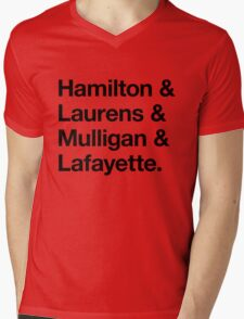 Helvetica Hamilton and Laurens and Mulligan and Lafayette (Black on White) Mens V-Neck T-Shirt